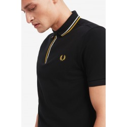 Polo homme Fred Perry noir et gold